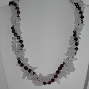"Natural Rose Quartz, Garnet 17.5""  necklace (#338)"